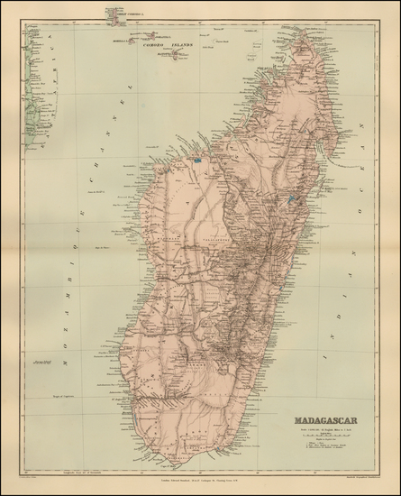 26-East Africa and African Islands, including Madagascar Map By Edward Stanford