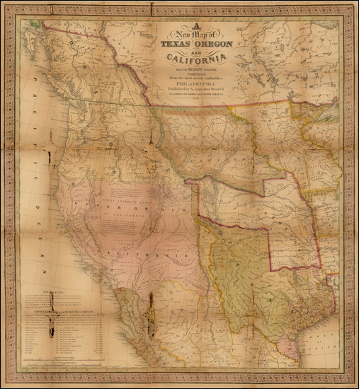 5-Texas, Rocky Mountains and California Map By Samuel Augustus Mitchell