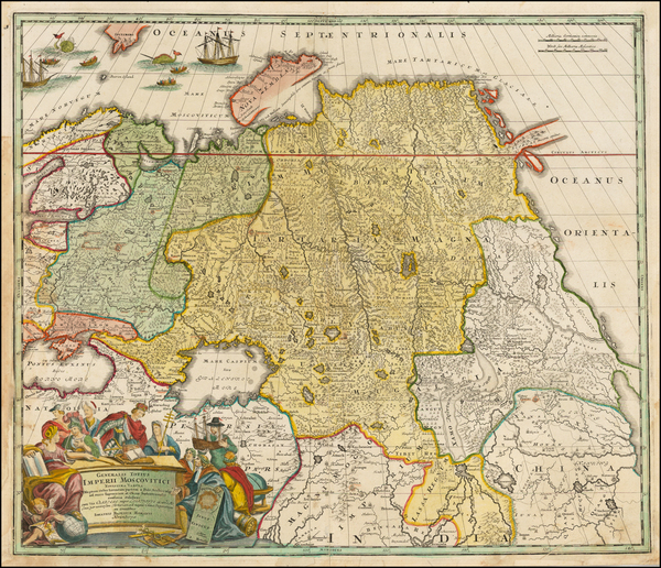 Russia, India, Central Asia & Caucasus and Russia in Asia Map By Johann Baptist Homann