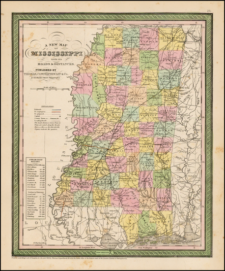 45-South and Mississippi Map By Thomas, Cowperthwait & Co.