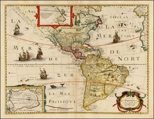 67-South America and America Map By Petrus Bertius / Michel Van Lochem