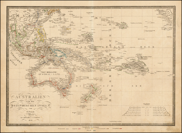 86-Southeast Asia, Australia & Oceania, Pacific, Australia and Oceania Map By Artaria & Co