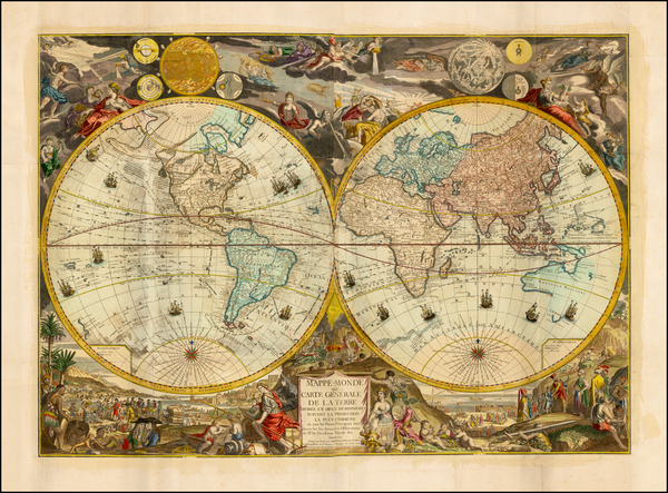 90-World and World Map By Louis Charles Desnos