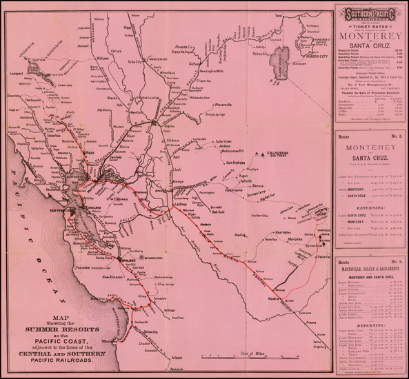 California and Yosemite Map By Southern Pacific Railroad Company