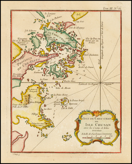 34-China Map By Jacques Nicolas Bellin