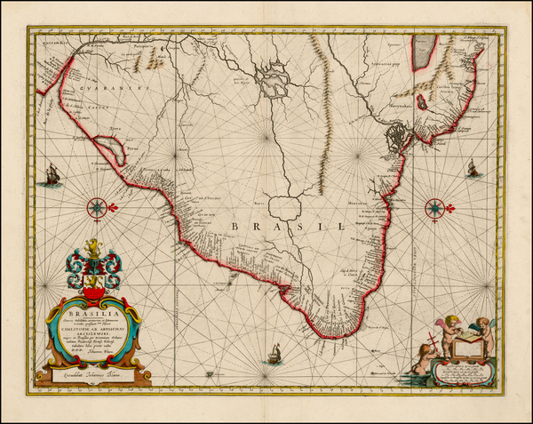 57-Brazil Map By Willem Janszoon Blaeu