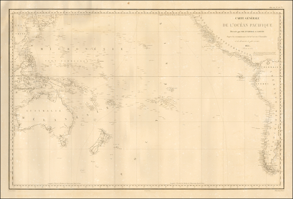 Australia & Oceania, Pacific, Australia, Oceania and Other Pacific Islands Map By Jules Sebastian Cesar Dumont-D'Urville