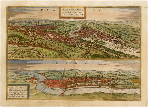 89-Czech Republic & Slovakia Map By Georg Braun  &  Frans Hogenberg