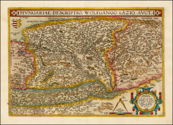 75-Austria, Hungary, Romania and Balkans Map By Abraham Ortelius