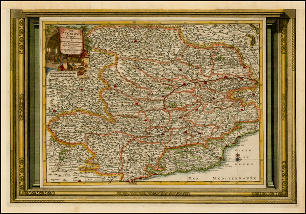 96-France, Italy and Northern Italy Map By Pieter van der Aa