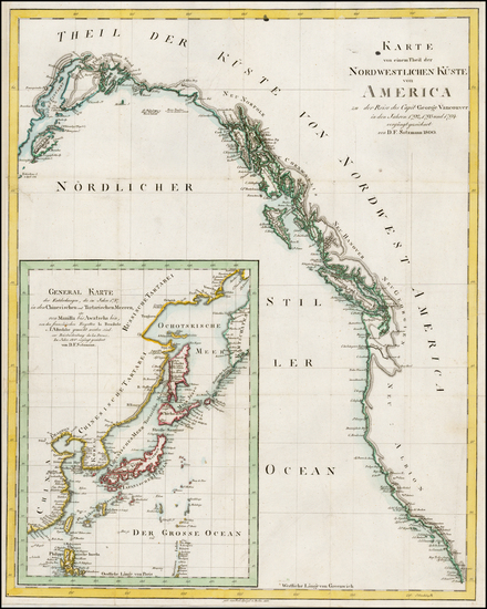 85-Alaska, Canada, Japan, Korea, Russia in Asia and California Map By Daniel Friedrich Sotzmann