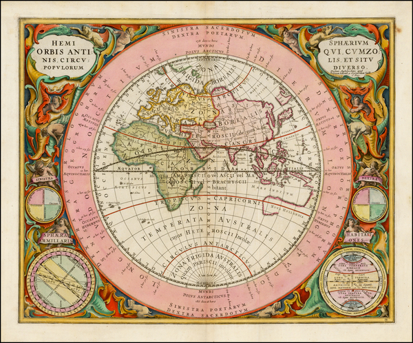 30-Eastern Hemisphere, Indian Ocean and Celestial Maps Map By Andreas Cellarius