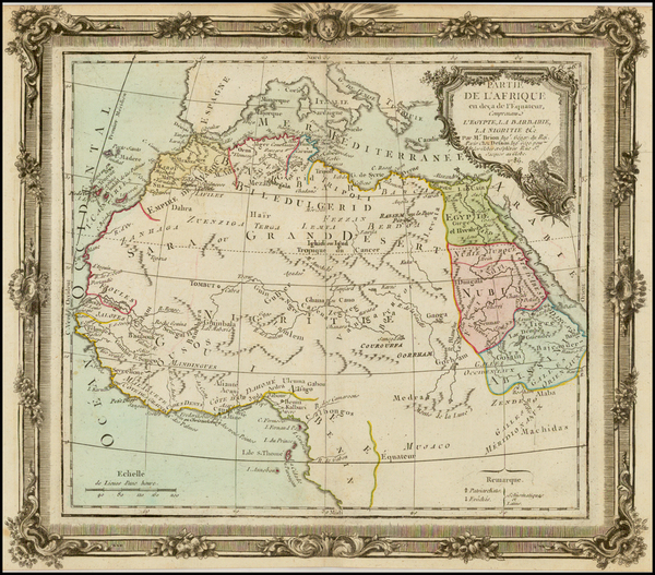75-North Africa, East Africa and West Africa Map By Louis Brion de la Tour