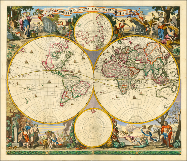 4-World and World Map By Frederick De Wit / Gerard Valk
