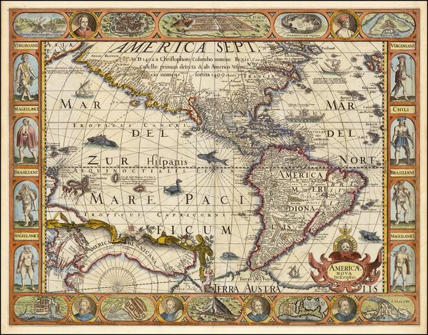 56-South America and America Map By Pieter van den Keere
