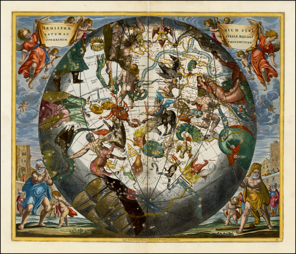 13-Western Hemisphere, Southern Hemisphere and Celestial Maps Map By Andreas Cellarius
