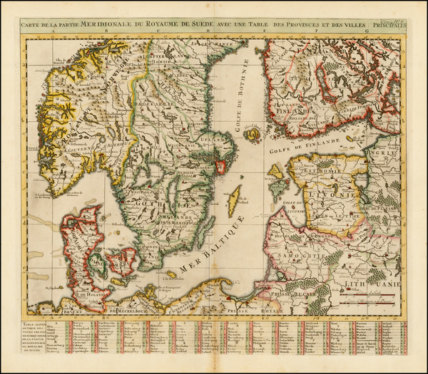 89-Baltic Countries and Scandinavia Map By Henri Chatelain