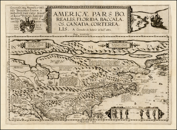 5-Polar Maps, United States and North America Map By Cornelis de Jode