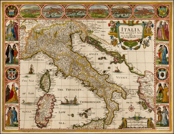 98-Balkans, Italy, Mediterranean and Balearic Islands Map By John Speed