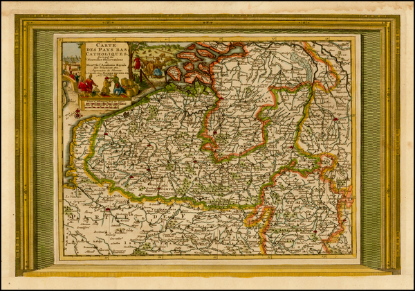 78-Belgium Map By Pieter van der Aa