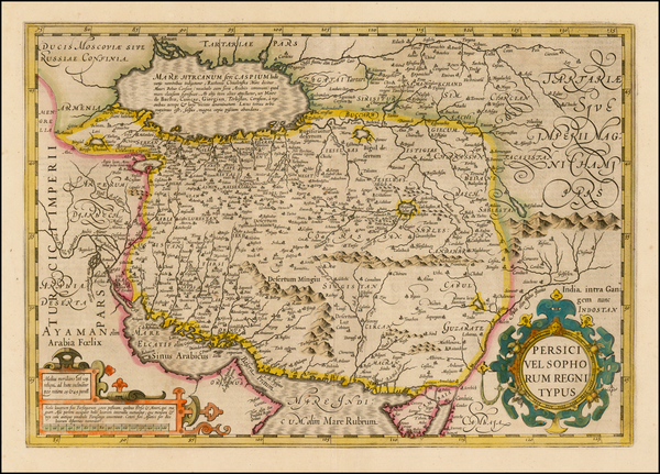 86-Central Asia & Caucasus, Middle East and Persia Map By Jodocus Hondius