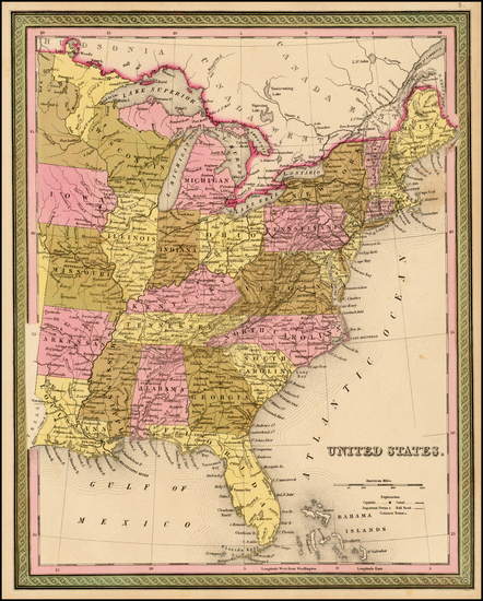 39-United States Map By Samuel Augustus Mitchell