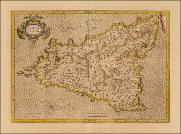 68-Sicily Map By  Gerard Mercator