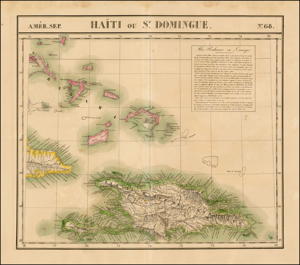 73-Hispaniola and Bahamas Map By Philippe Marie Vandermaelen