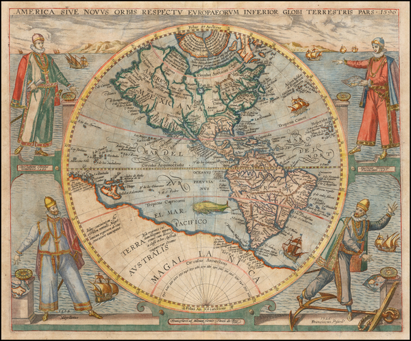 69-Western Hemisphere, North America, South America and America Map By Theodor De Bry
