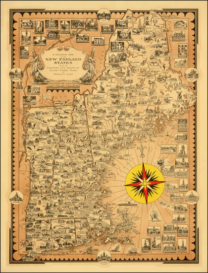 66-New England Map By Ernest Dudley Chase