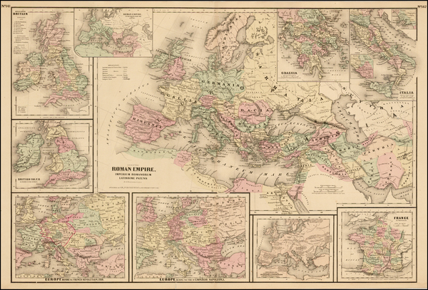 77-Europe, Italy and Mediterranean Map By G.W.  & C.B. Colton