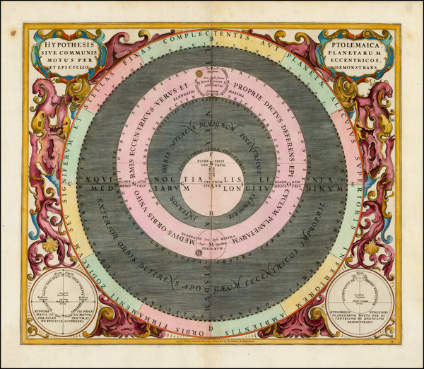 47-Western Hemisphere, Southern Hemisphere and Celestial Maps Map By Andreas Cellarius