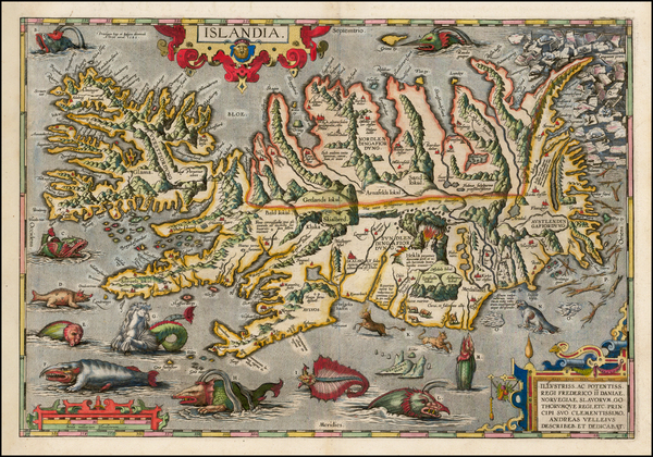 83-Atlantic Ocean, Iceland and Balearic Islands Map By Abraham Ortelius