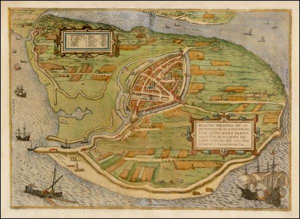 27-Netherlands Map By Georg Braun  &  Frans Hogenberg
