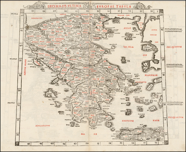 Greece Map By Bernardus Sylvanus