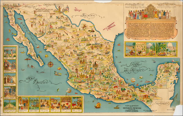 83-Mexico and Pictorial Maps Map By Miguel Gómez Medina