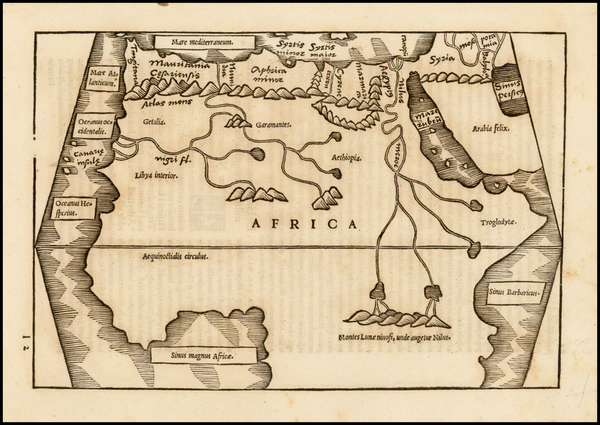 50-Africa, Africa and North Africa Map By Caius Julius Solinus