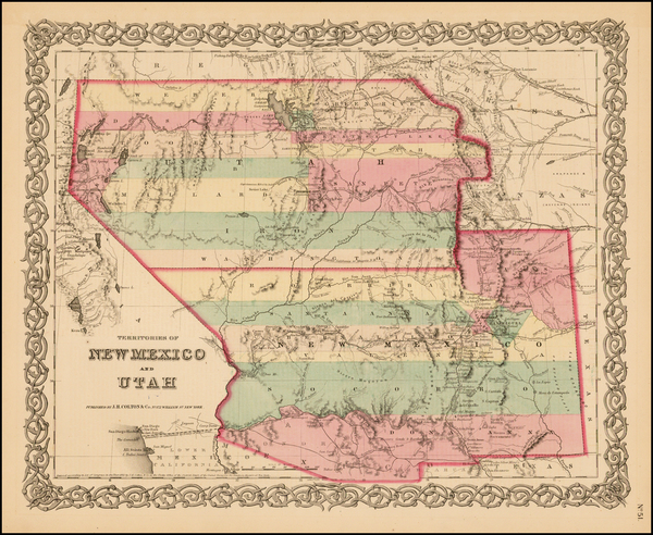 22-Southwest, Nevada, New Mexico, Rocky Mountains and Utah Map By Joseph Hutchins Colton