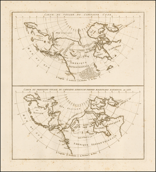 86-Polar Maps, Alaska and Canada Map By Jean Benjamin de LaBorde