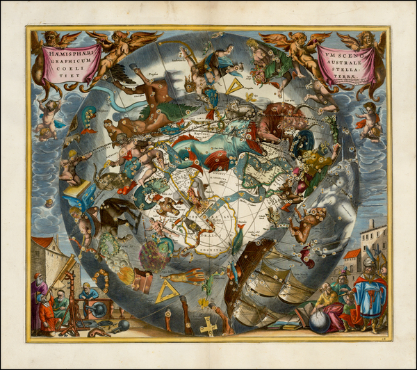 78-Eastern Hemisphere, Polar Maps and Celestial Maps Map By Andreas Cellarius