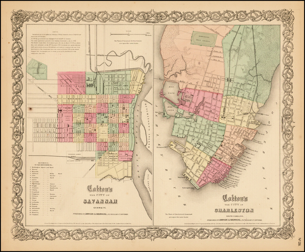 12-Georgia and South Carolina Map By Joseph Hutchins Colton