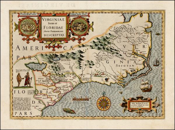 58-Mid-Atlantic and Southeast Map By Jodocus Hondius