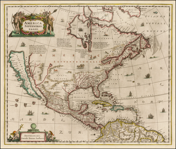23-North America and California as an Island Map By Henricus Hondius / Jan Jansson