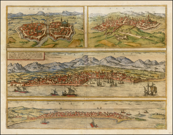 60-Italy, Southern Italy and Other Italian Cities Map By Georg Braun  &  Frans Hogenberg