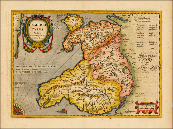 65-Wales Map By Henricus Hondius / Jan Jansson