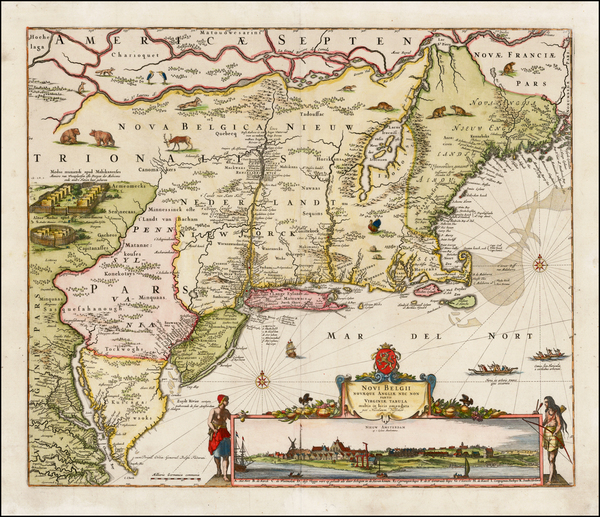New England, New York City, New York State and Mid-Atlantic Map By Nicolaes Visscher I