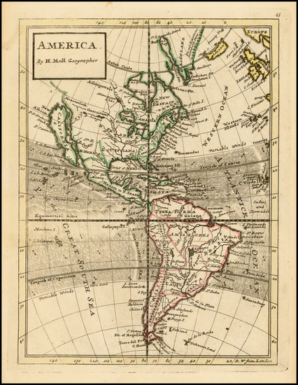 37-South America and America Map By Herman Moll