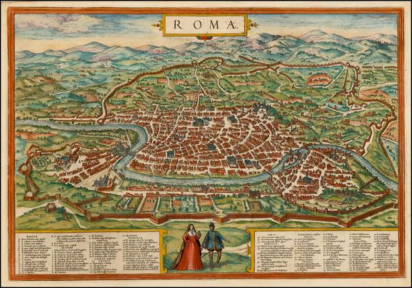 76-Italy Map By Georg Braun  &  Frans Hogenberg
