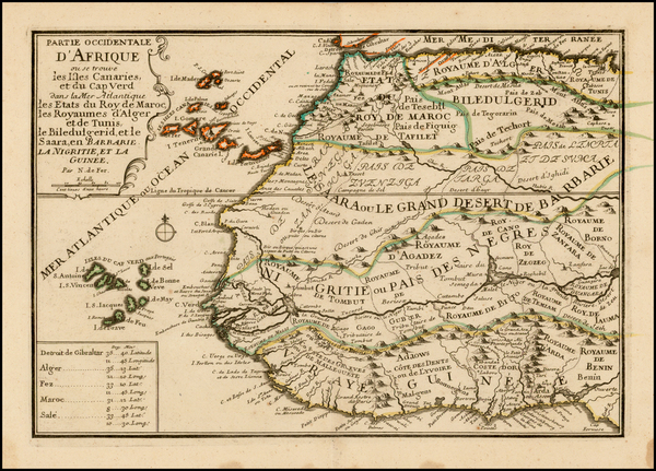 68-North Africa, West Africa and African Islands, including Madagascar Map By Nicolas de Fer