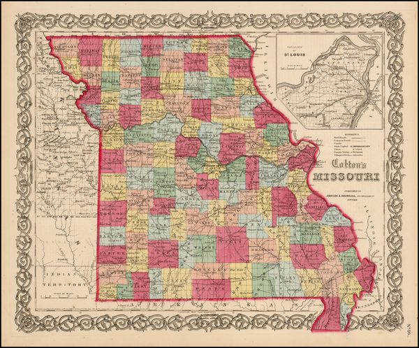 62-Midwest, Plains and Missouri Map By Joseph Hutchins Colton